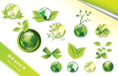 ECO Friendly Green Symbol Set Vector 01