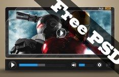 HD Black Video Player PSD