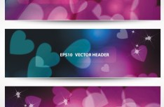 Set Of Vector Stylish Banners with Fantastic Hearts Backgrounds