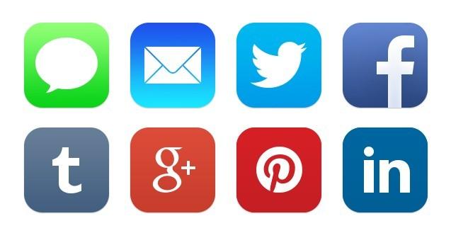 iOS 7 Native Social Icons PSD