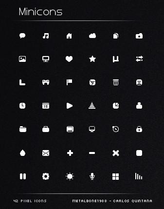 42+ Mini Pixel Icon Set PSD