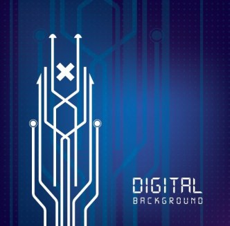 Blue and White Digital Arrows Background Vector
