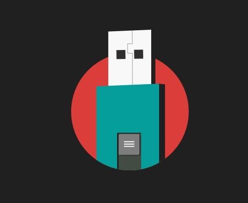 Flat USB Drive Icon PSD