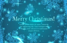 Blue Merry Christmas Background With Vintage Floral Border Vector 01