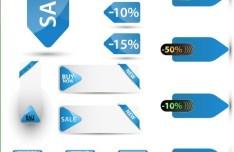Clean Blue Sale & Discount Labels Vector