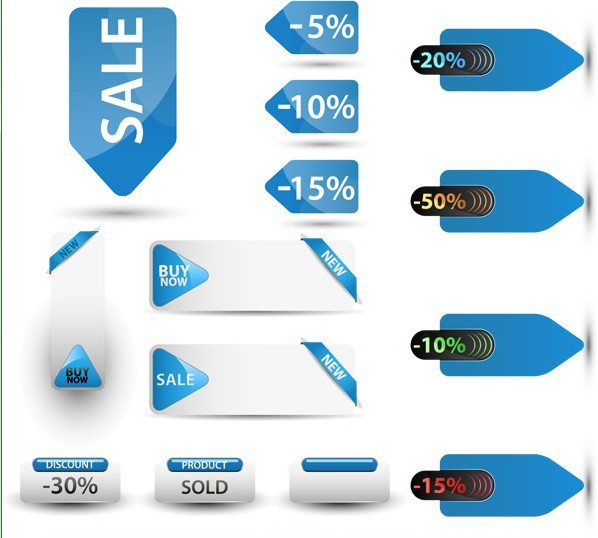 Clean Blue Sale & Discount Labels Vector