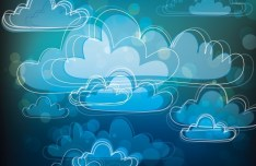 Hand Drawn Clouds Background Vector