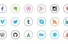 Mini Rounded Social Icon Set PSD