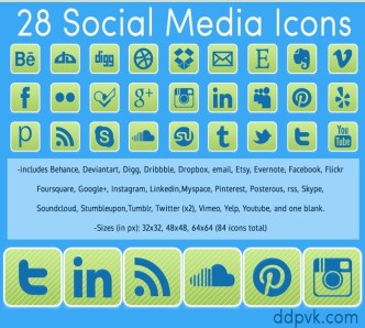 28 Rounded Green Social Media Icon Set