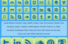 28 Rounded Green Social Media Icon Set