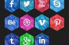 3D Hexagon Social Icon Set PSD