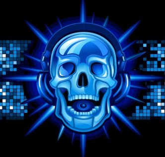 Creative Blue Skull Listening To The Music Vector