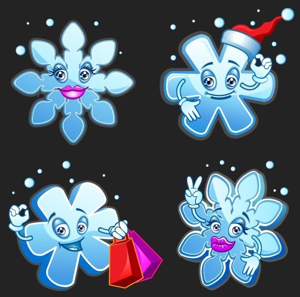 Cute Cartoon Snowflakes Vector