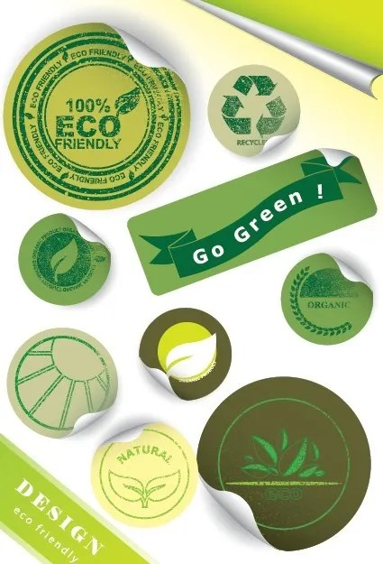 ECO Friendly Green Label Stickers Vector