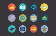 Flat Hotel Icons PSD
