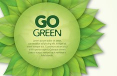 Go Green Concept Circular Leaf Label Vector