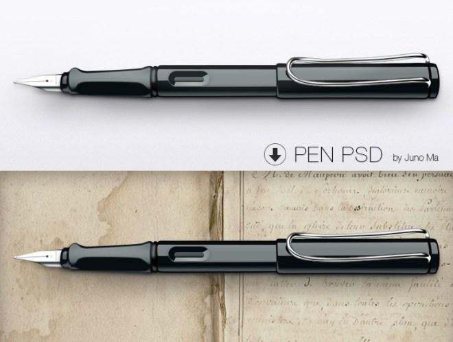 Realistic Pen Mockup PSD