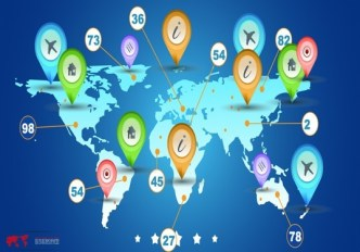 World Map with Map Markers Vector