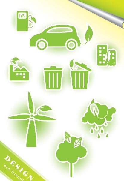 ECO Friendly Green Symbol Set Vector 09