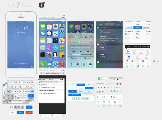 iOS 7 UI Kit PSD