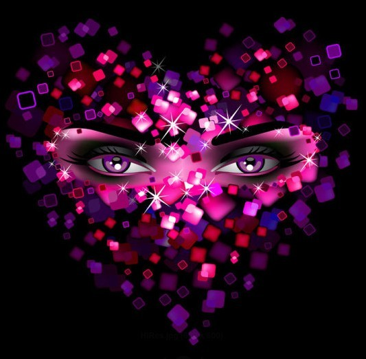Beautiful Eyes Hidden Behind The Heart Mask Vector