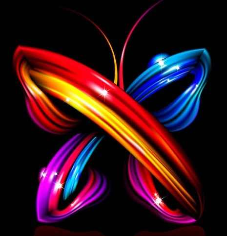 Bright Colorful Abstract Butterfly Vector