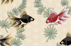 Classic Goldfish and Aquatic Plants Illustration Vector