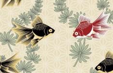 Classic Goldfish and Aquatic Plants Illustration Vector
