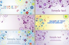 Set Of Colored Floral Banners Vector