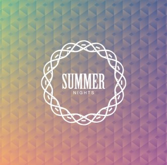 White Summer Nights Badge with Abstract Triangles Background Vector