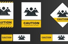 Yellow and White Caution Signs Vector