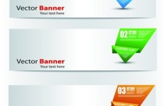 Set Of Vector Banners with Colored Origami Labels