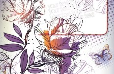 Colorful Watercolor Flower Background Vector 04
