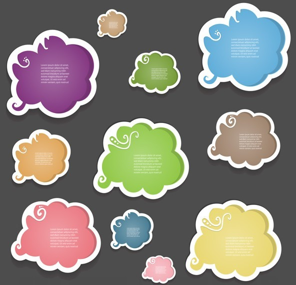 Set Of Vector Creative Colored Cloud Style Speech Bubbles 01