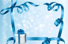 Blue Gift Card with Ribbon Bow and Gift Boxes Vector 02