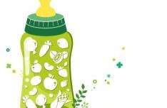 Organic Concept Green Baby Feeding Bottle Illustration Vector 02