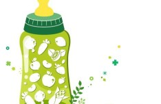 Organic Concept Green Baby Feeding Bottle Illustration Vector 02