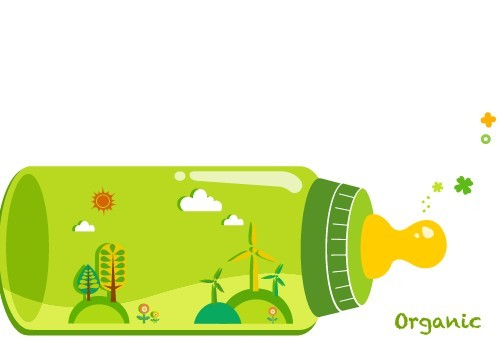 Organic Concept Green Baby Feeding Bottle Illustration Vector 03