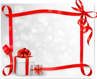 Red Gift Card with Ribbon Bow and Gift Boxes Vector 04
