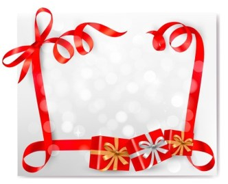 Red Gift Card with Ribbon Bow and Gift Boxes Vector 05