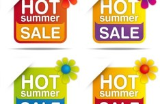 Set Of Colored Hot Summer Sale Labels Vector 01