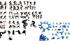 Extreme Sport Athletes Silhouettes Vector