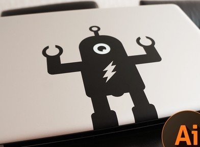 Macbook Pro Robot Sticker Vector