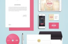 Pink and White Branding & Identity MockUp PSD