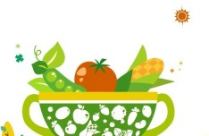 Vector Green Illustration Of Organic Foods 02