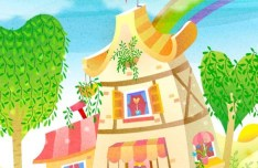 Cartoon Summer Provence Landscape Vector Illustration