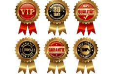 Set Of Vector Awards with Golden Ribbons
