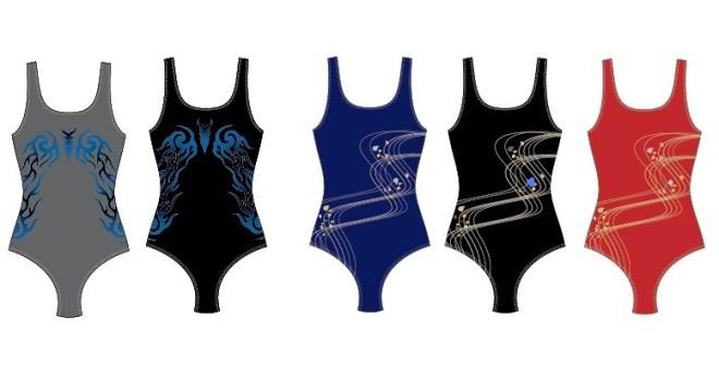 Set Of Vector Piece Swimsuit Template