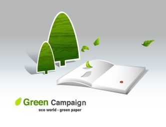 Green ECO World Campaign Green Paper Vector Illustration