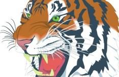 Roaring Tiger Head Illustration Vector